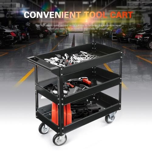 iKayaa 3 Shelves Steel Tool Cart 100KG Capacity Utility Cart