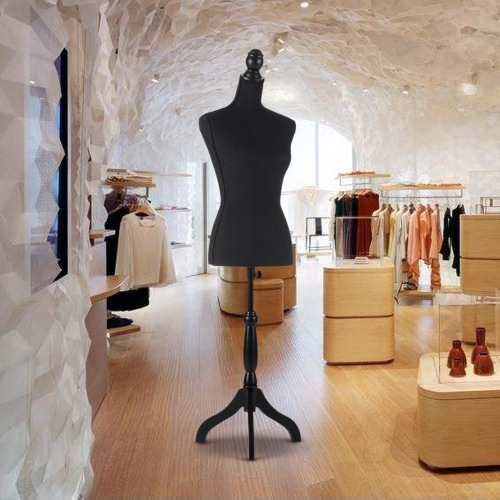 iKayaa Female Mannequin Torso Dress Form with Wood Tripod Stand