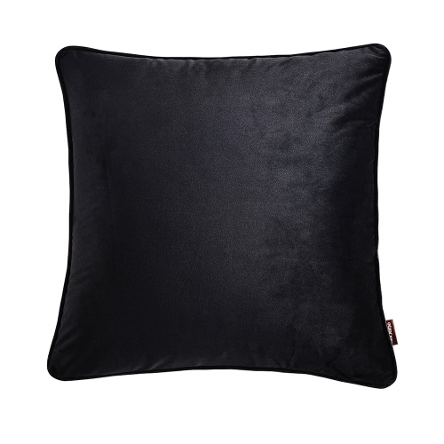 """18 """"* 18"""" estilo simple almohadilla de almohadilla de tiro de color sólido funda de cojín suave sofá cama de la silla decorativa funda de almohada cuadrada funda de almohada de 45 * 45 cm con cierre oculto de cremallera - negro"""