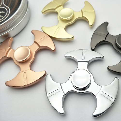 Zinc Alloy Knuckle Tri Finger Fidget Hand Spinner EDC Toys with Metal Box Axe-shaped Widget Focus Toys Gift for ADHD Children Adults Relieve Stress Anxiety Boredom Killing Time Pocket Desktoy