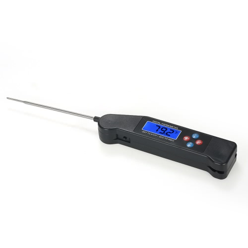 Digital Instant Read Voice Broadcast Food BBQ Cooking Thermometer with LCD Backlit Display Foldable Probe for Steak Milk Water Meat