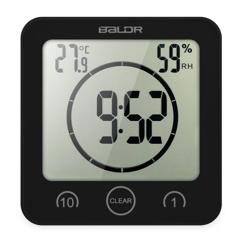 Horloge numérique multifonctionnelle avec affichage grand écran Horloge température température Excellente horloge LCD douche avec minuterie