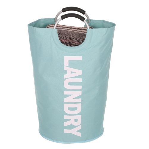 Складная сумка для стирки Промывка грязной корзины для корзин для одежды Главная Органайзер Хранение Прочный хомут для одежды с ручкой из сплава - красный - голубой