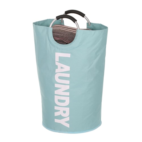 Foldable Laundry Bag Washing Dirty Clothes Basket Bins Home Organizer Storage Durable Laundry Hamper with Alloy Handle--Red--Light Blue