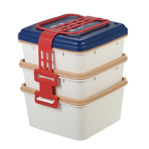Boîte à lunch portable à trois couches Mini-boîte à lunch à grande capacité Boîte à lunch élégante et durable Boîte à provisions de bonne qualité Conteneur à 3 plaques