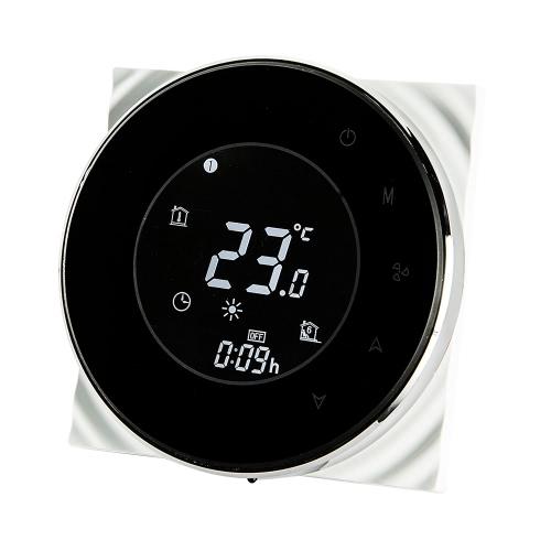 BECA Программируемый круглый термостат термостата вентилятора 95 ~ 240VAC Четырехканальный нагревательный / охлаждающий сенсорный экран 5 + 2 Еженедельный кондиционер памяти с ЖК-дисплеем