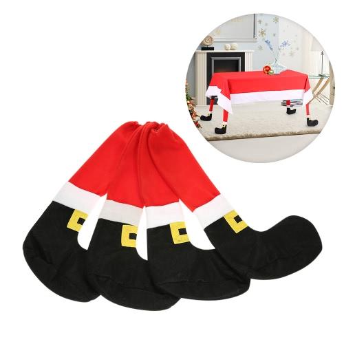 4 szt. / Zestaw Boże Narodzenie Stołowe Stołowe Nogi Covers Set