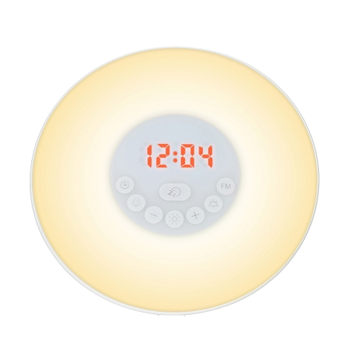 Wake Up Light USB Alarm Clock Sunrise/Sunset Simulation Digital Clock with FM Radio 7 Colors Light Nature Sounds Snooze Function Touch Control
