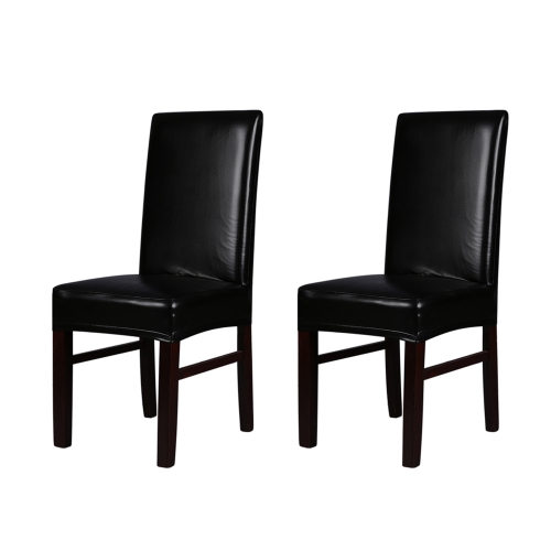 2pcs One-piece PU Leather Stretchable Dining Chair Back Seat Covers Waterproof Oilproof Dustproof Ceremony Chair Slipcovers Protectors--Black