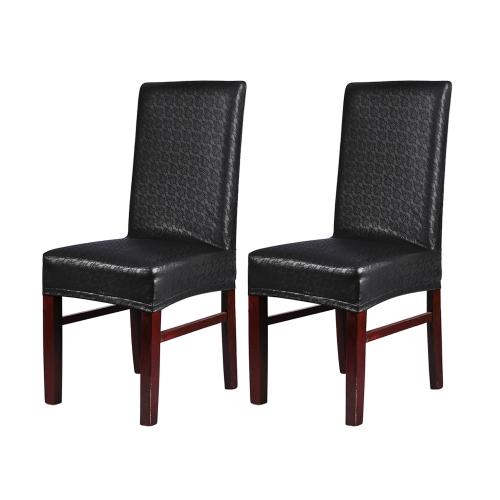 2pcs de una pieza de cuero de la PU patrón de encaje silla de comedor cubiertas de asiento impermeable impermeable a prueba de polvo estirable silla protectores de fundas - rojo