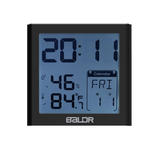 Baldr Mini LCD Digital Alarm Clock Indoor Thermometer Hygrometer with Alarm Snooze Function Calender White Backlight for Home Office Travel--Black