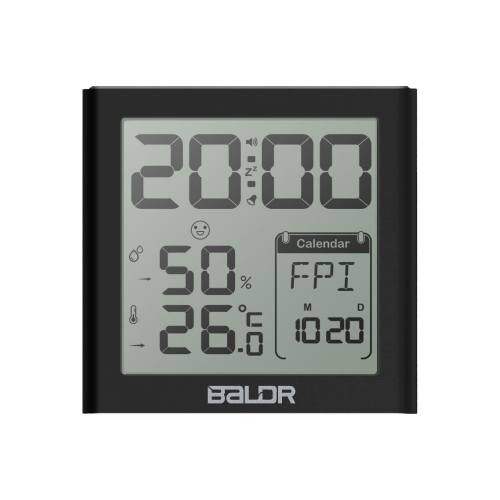 Baldr Mini LCD Цифровой будильник Внутренний термометр Гигрометр с функцией отсрочки будильника Calender White Backlight для домашнего офиса - черный