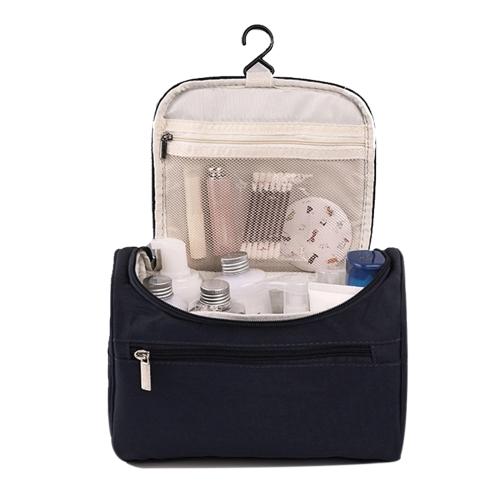 Las mujeres viajan el bolso del maquillaje bolsas de cosméticos multifuncionales de moda de poliéster a prueba de agua de almacenamiento bolso del organizador hombres (azul marino)