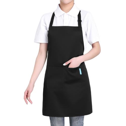 Esonmus 2 teile / satz Erwachsene Polyester Küche BBQ Restaurant Schürze mit Verstellbaren Hals Gürtel 2 Taschen für Kochen Backen Gartenarbeit für Männer Frauen - rot
