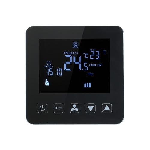 200-230V Programmable Thermostat Climatiseur 2-tubes 4-température Contrôleur de température Écran Tactile LCD Condition de chauffage de l'air Température de contrôle Underfloor 3A 7-Day 4-Period Programming Backlight