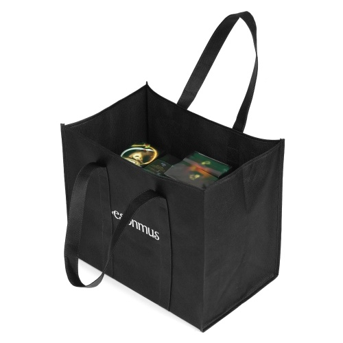 Esonmus 6pcs/set Multipurpose Reusable Non-Woven Large Grocery Tote Bags Foldable Shopping Bags Storage Handbags with Dual Reinforced Handles--Black