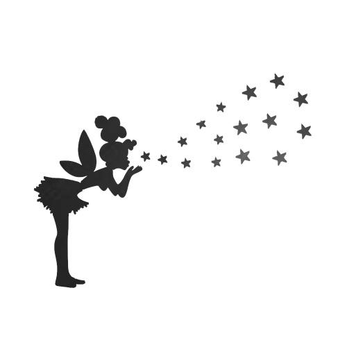 ミラーウォールステッカーリビングルームのベッドルームの装飾ステッカーリトルガールは星を吹く