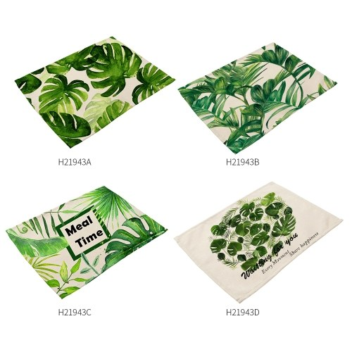 TOMTOP / Green Plant Printed Polyester Placemat
