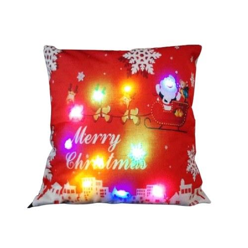 18 * 18 дюймов / 45 * 45 см Белье Красочный светодиодный Рождественский Подушка Обложка