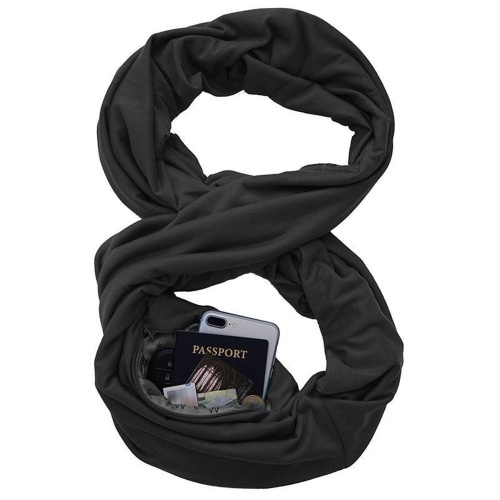 Soft Zipper Pocket Loop Scarf