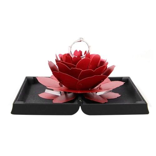 Caixa de anéis de rosa original pop up noiva surpresa de noivado
