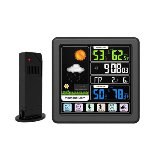 Despertador inalámbrico de la estación meteorológica de la pantalla LCD a color del tacto