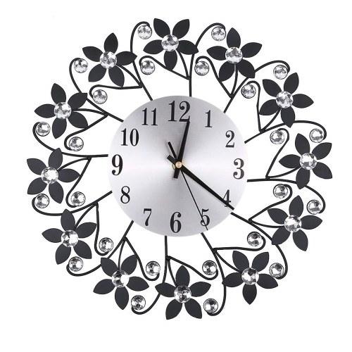 Retro Luxury Flower Shape Diamond Round Quartz Clock Art Wall Clock Mute Home Living Room Decor