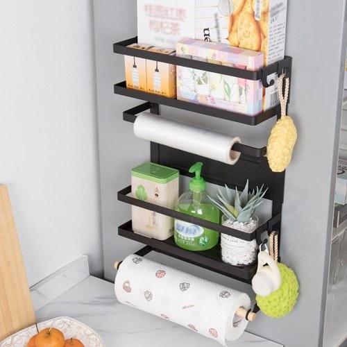 LSF2019052 Кухонная стойка Холодильник Органайзер Боковая полка холодильника Магнитный органайзер на холодильник Держатель бумажного полотенца Баночки для специй Стеллаж для хранения Приправы Баночки Органайзер Холодильник Полка для хранения фото