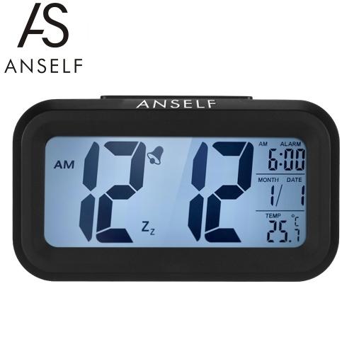自己LEDデジタル目覚まし時計繰り返しスヌーズ光活性化センサーバックライト時間日付温度表示