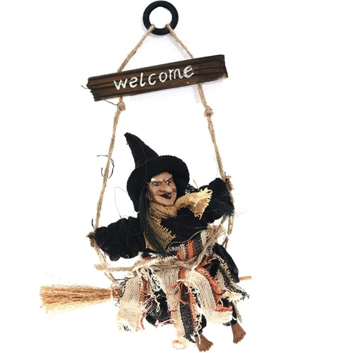 Halloween Bienvenido Placa de madera Bruja colgante Decoración Bruja