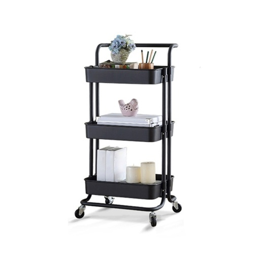 3 Tier Rolling Metal Utility Cart on Wheels Moveable Storage Organizer Cart