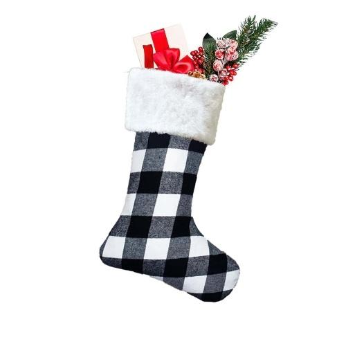 Navidad Candy Stocking Classic Plaid Pattern Bolsas de asas reutilizables Regalo T