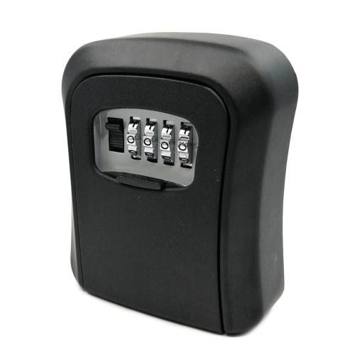 Caja con cerradura de llave Montaje en pared Aleación de aluminio Combinación de 4 dígitos Caja de seguridad impermeable Caja de seguridad con llave Almacenamiento portátil para la tarjeta de identificación de la llave de la casa Disco en U