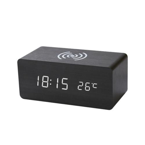 Qi Wireless Chargings USB Despertador LED de madera