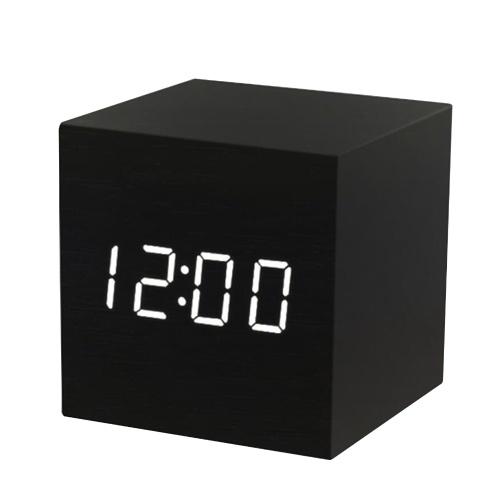Alarma digital LED de madera