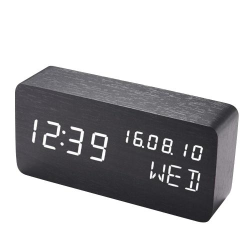 Настольный деревянный будильник с голосовым управлением