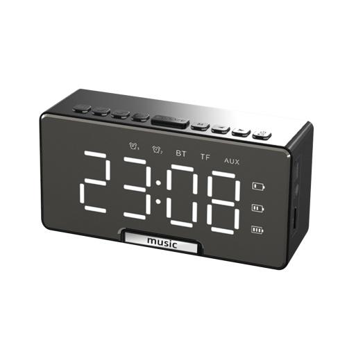液晶画面デュアルアラーム付きデジタルミラー表面目覚まし時計&BTスピーカー