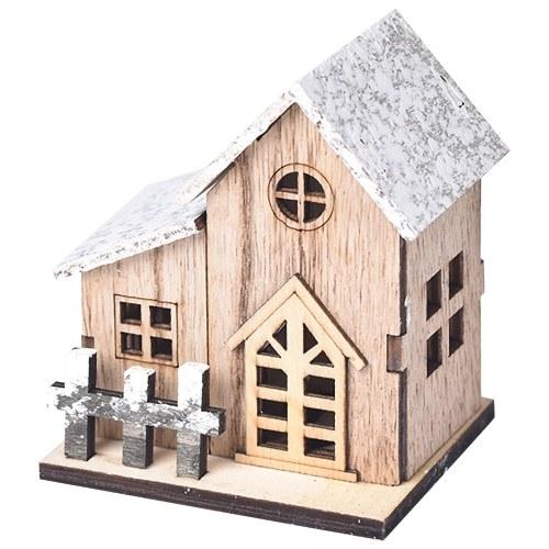Small Wooden House Desktop Decoration Luminous Wood Craft Ornament