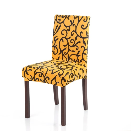 Hohe Qualität Stretch Herausnehmbare waschbare Kurz Dining Chair Abdeckung der weichen Milch Silk Spandex Druck Stuhl-Abdeckung Husse für Hochzeit Hotel Dining Room Zeremonie Stuhl Sitzbezüge