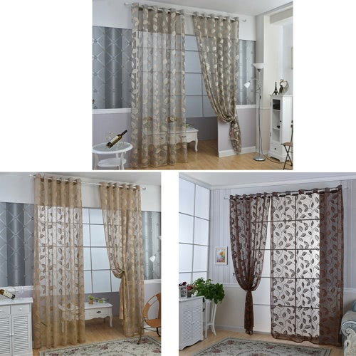 Anself 2PCS Warp Knitting Yarn Elegant Window Door Curtains Sheer Voile Tulle for Bedroom Living Room Balcony Kitchen Hotel Decoration Jacquard Leaves Pattern Sun-shading Curtain Home Textile 39