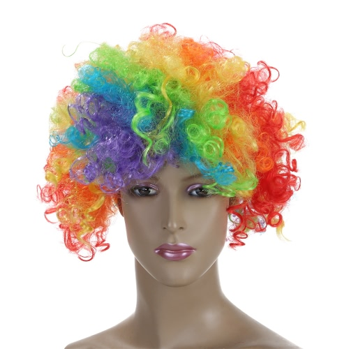 Festnight Adult Colorful Clown Afro Wig Curly Hair Halloween Masquerade Cosplay Costume Football Fans Wig