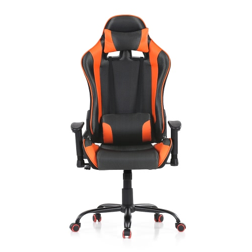 iKayaa Ergonomic Racing Style Gaming Office Chair Swivel Executive Computer Chair Bucket Seat W/ Recline Height & Armrest Adjustable Tilt Function + Head Rest & Lumbar Support