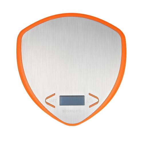 WeiHeng 5KG / 1g Светодиодная подсветка Цифровая кухонная шкала Многофункциональная пищевая шкала G / LB / OZ Нержавеющая сталь Весовая функция баланса тары