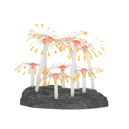 Glowing Effect Artificial Coral Plant for Fish Tank Aquarium Decoration Ornament Orange