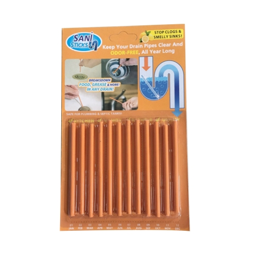 12 / Pack Sani Sticks mantém os drenos e as tubulações limpas e o odor visto na TV