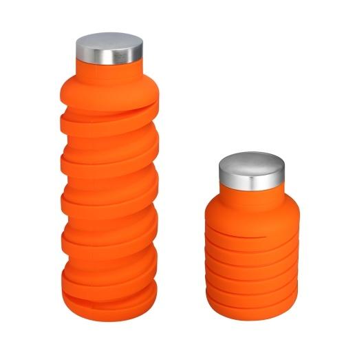 600 мл Handy Collapsible BPA-Free FDA Утвержденная силиконовая бутылка с водой для пищевых продуктов Термостойкая бутылка с чашкой для напитков для бега Пешие прогулки Тренажерный зал - оранжевый