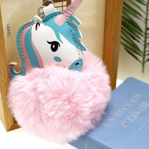 Image of Soft Faux Fur Ball Schlüsselanhänger Pompon Schlüsselanhänger Handtasche Auto Anhänger Ornament Dekor