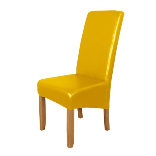 Dining Chair Slipcover, High Stretch Removable Chair Cover Washable PU Leather Waterproof Chair Seat Protector Cover for Home Party Hotel Wedding Ceremony