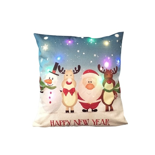 18 * 18 polegadas / 45 * 45 cm de linho colorido luz LED capa de almofada de natal decorativa sofá carro lance fronha fronha