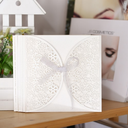 10Pcs romantique White Wedding Party Invitation carte délicate sculpté de fleurs